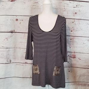 Soft Surroundings Striped Tunic with Pockets XLp